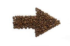 Flèche de grains de café Photo libre de droits