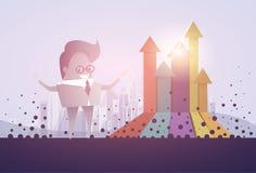 Flèche de graphique de finances d'homme d'affaires vers le haut de concept financier de succès Images libres de droits
