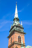 Flèche de l'église allemande, Stockholm Photos stock