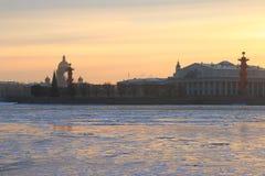 Flèche de l'île de Vasilievsky en hiver Images stock