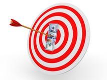 flèche de la cible 3d sur la note du dollar Illustration Libre de Droits