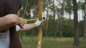 Flèche draving de jeune fille et cible de tir banque de vidéos