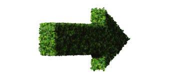 Flèche faite à partir des feuilles vertes 3d rendent Image stock