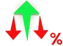 Flèche haute et rouge de flèche verte vers le bas aux pour cent Images stock