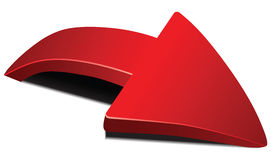 Flèche incurvée par rouge illustration stock