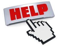 Flèche indicatrice à la main appuyée par bouton d'aide Photo stock