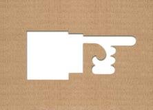 Flèche indicatrice de main de carton Image stock
