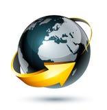Flèche jaune autour de la terre Image stock