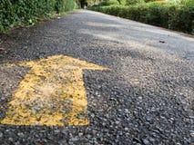 Flèche jaune sur la piste de parc Images stock