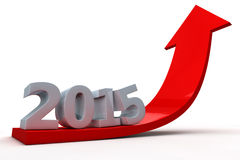 Flèche montrant la croissance pendant l'année 2015 Photo stock