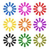 Flèche multicolore réglée en cercle Photos stock