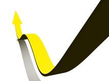 Flèche ondulée jaune Photographie stock