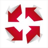 Flèche rouge avec la diagonale d'ombre Photo libre de droits