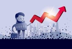 Flèche rouge de prise d'homme d'affaires vers le haut de concept financier de succès Photographie stock