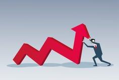 Flèche rouge de prise d'homme d'affaires vers le haut de concept financier de succès Photo libre de droits