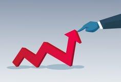 Flèche rouge de prise de main d'homme d'affaires vers le haut de concept financier de succès Photo stock
