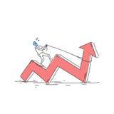 Flèche rouge de tour d'homme d'affaires tirant vers le haut le concept financier de succès Images stock