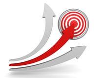 Flèche rouge indiquant le centre de la cible Concept de gain de succès Photographie stock libre de droits