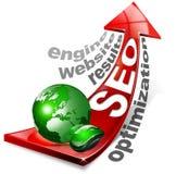 Flèche rouge positive de SEO Images libres de droits