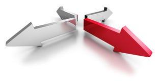 Flèche rouge unique parmi Team Group wMetallic illustration de vecteur