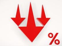 Flèche rouge vers le bas aux pour cent Image libre de droits