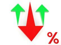 Flèche rouge vers le bas et flèche verte jusqu'aux pour cent Images stock