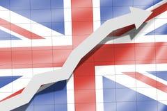 Flèche sur le drapeau le drapeau Royaume-Uni BRITANNIQUE Grande-Bretagne comme fond illustration libre de droits