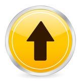 Flèche vers le haut de graphisme jaune de cercle Image libre de droits