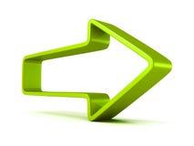 Flèche verte en avant sur le fond blanc illustration stock