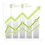 Flèche verte vers le haut de diagramme sur le blanc Photographie stock libre de droits