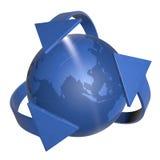 flèches 3d et globe bleu Photographie stock libre de droits