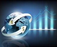 Flèches autour de devise de la terre et du monde de planète illustration libre de droits