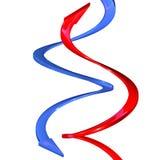 Flèches bleues et courbes rouges de la spirale 3d illustration de vecteur