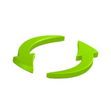 Flèches circulaires vertes icône, symbole de vecteur Image libre de droits