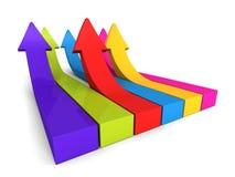 Flèches colorées en hausse avec la réflexion sur le fond blanc Images stock