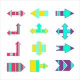 Flèches créatives rayées colorées de vecteur indiquant des directions illustration stock