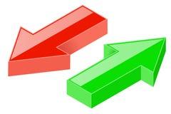 flèches 3D Icônes vertes et rouges Image libre de droits
