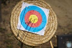 Flèches dans la cible de tir à l'arc Photos stock
