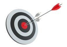 Flèches dans la cible de tir à l'arc Image stock