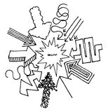 Flèches de bande dessinée se dirigeant au centre Illustration Libre de Droits