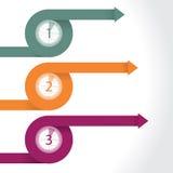 Flèches de bordage infographic avec des comptes à rebours Image libre de droits