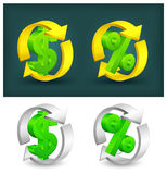 Flèches de cercle avec le dollar et les pour cent Photos stock
