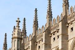 Flèches de College Chapel, Cambridge du Roi. Photos stock
