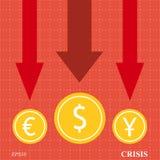 Flèches de crise monétaire Images stock