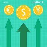 Flèches de croissance de devise Image libre de droits