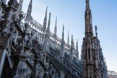 Flèches de détail de cathédrale de Duomo à Milan, Italie Architec gothique Images stock