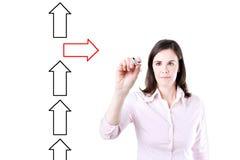 Flèches de dessin de femme d'affaires dans différentes directions Photos libres de droits
