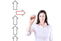 Flèches de dessin de femme d'affaires dans différentes directions D'isolement sur le blanc Photographie stock libre de droits