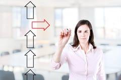 Flèches de dessin de femme d'affaires dans différentes directions Fond de bureau Photos libres de droits
