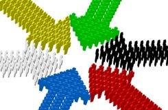 6 flèches de point de rangée de personnes au centre Images libres de droits